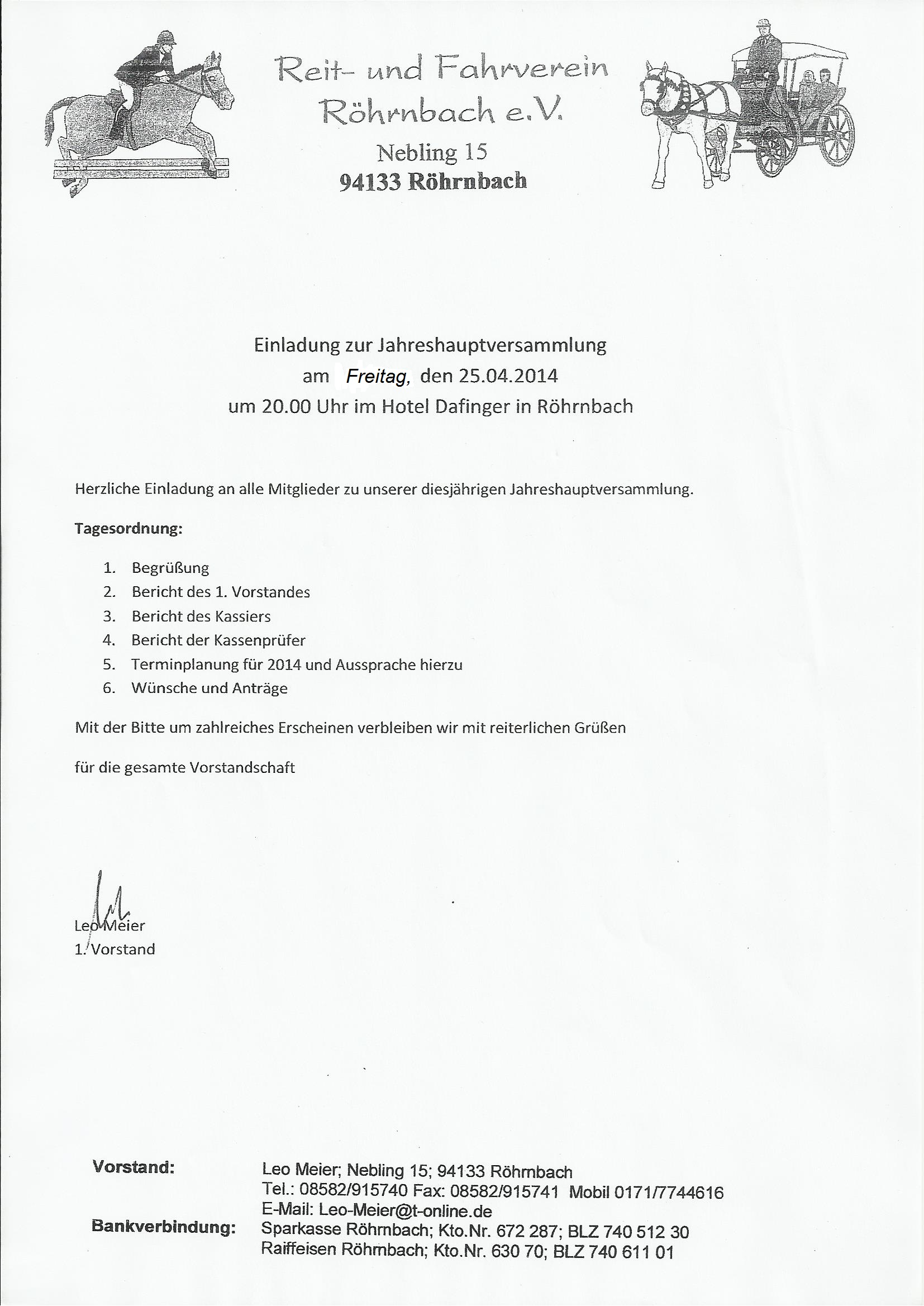reit- und fahrverein röhrnbach e. v. | gegr.: 2000 | reitverein, Einladung